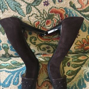 Tod's Shoes - Tods Brown Suede Heels w/studded Toe.